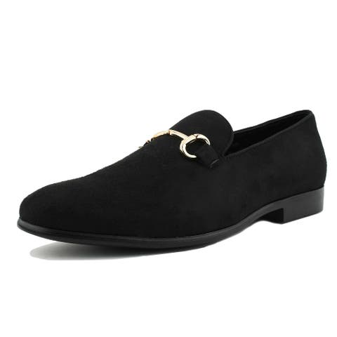 Amali Bradford - Microfiber Driving Slip On Smoking Loafer w Gold Bit