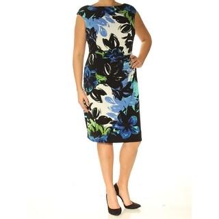 Womens Black Floral Cap Sleeve Knee Length Sheath Wear To Work Dress Size: 14