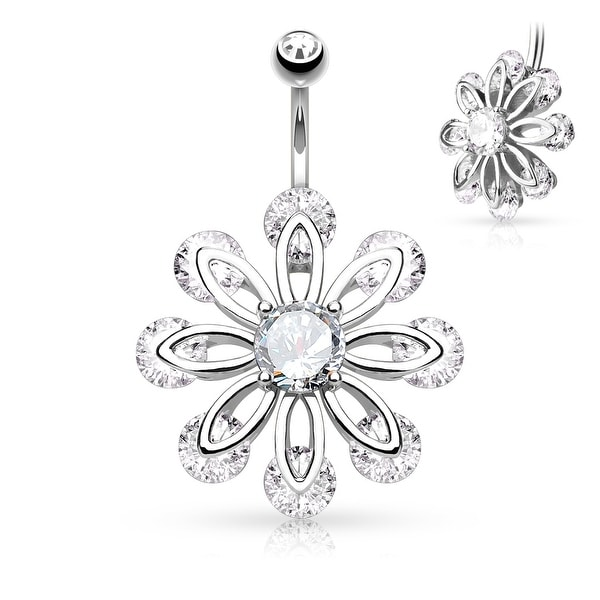 CZ Flower with Round CZ Center Surgical Steel Belly Button Navel Ring - 14GA (Sold Ind.)
