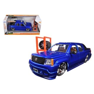 2002 Cadillac Escalade EXT Blue Just Trucks with Extra Wheels 1/24 Diecast Car Model by Jada