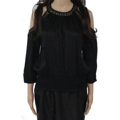 INC Womens Black Crochet-trim 3/4 Sleeve Blouse Cocktail Top Size XS