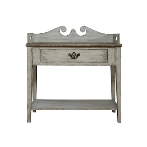 """Delacora HM-DS-P050057 Sophia 36"""" Wide Hardwood Accent Table - Weathered Gray"""