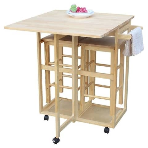 Square Solid Wood Folding Dining Cart with 2 Free Stools Natural