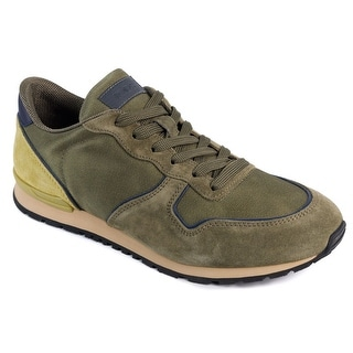 Tod's Men's Olive Runner Suede Nylon Sneakers