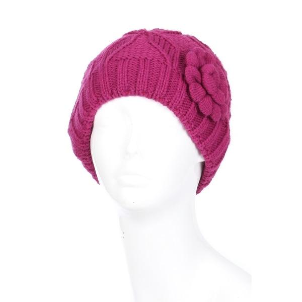 Women Flower Fleece Lined Winter Beanie Hat