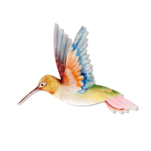 Handmade White Red and Blue Hummingbird Decor (Philippines) - 19 x 14 x 5