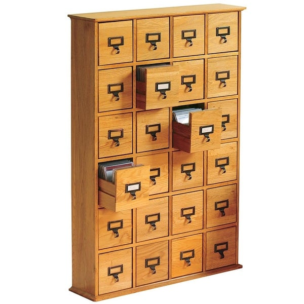 Library Catalog Media Storage Cabinet 24 Drawer S 288 Cds Or Dvds Plain Oak Wood 32 In X 40 8 Free Shipping Today
