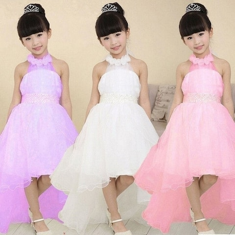 New Summer Children Girl Dress Tailing Princess Dresses Pink Halter Neck Waist Beaded Wedding Party Dress