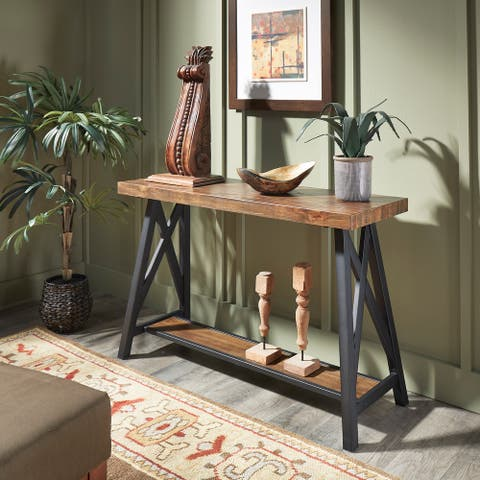 Bryson Rustic X-Base Sofa Entryway Table by iNSPIRE Q Classic