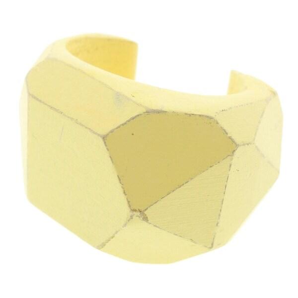 Zara Womens Cuff Bracelet Distressed Wood - YELLOW