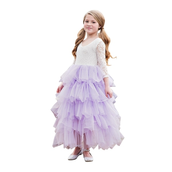 bd4120747e Shop Girls Purple Floral Tired Skirt Long Sleeve Junior Bridesmaid Dress -  Free Shipping Today - Overstock - 23079054