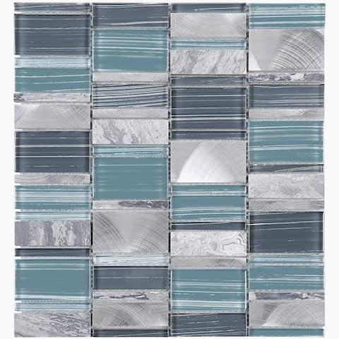 TileGen. Brickmax Random Sized Mixed Material Tile in Gray/Blue Wall Tile (10 sheets/10.3sqft.)