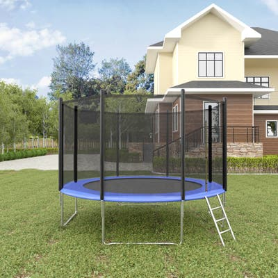 12FT Trampoline with Safety Enclosure Net &Ladder, Spring Cover Padding