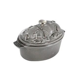 Staub Cast Iron 1-qt Pig Cocotte - Graphite Grey