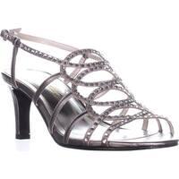 Caparros A-List Strappy Rhinestone Dress Sandals, Mushroom Metallic - 6 us