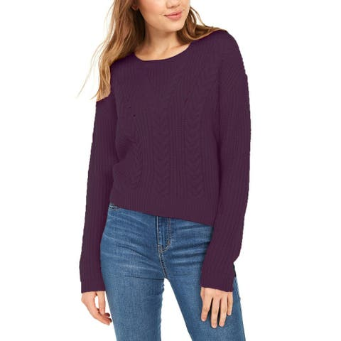 Crave Fame Women's Lace-Up Back Cable Sweater Purple Size Large