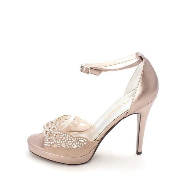Caparros Womens Mushroom Metallic Open Toe Ankle Strap Platform Pumps - 8.5