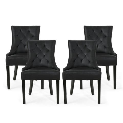 Hayden Contemporary Tufted Microfiber Dining Chairs (Set of 4) by Christopher Knight Home