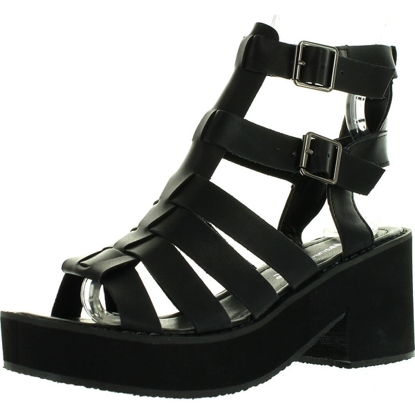 Nature Breeze Vienna-01 Women Leatherette Open Toe Strappy Foam Platform Heel Sandal - Black
