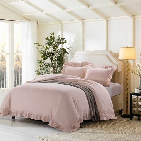 Ruffled Linen Duvet Cover & Pillow Shams Set