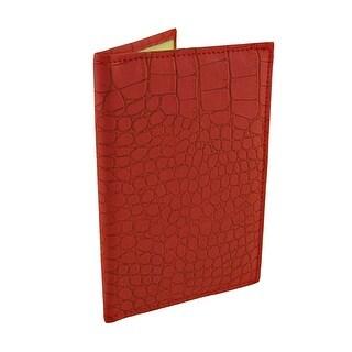 Red Mock Croc Textured Vinyl Passport Cover