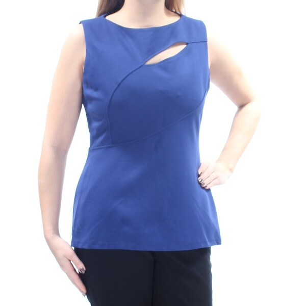 ANNE KLEIN Womens Blue Cut Out Sleeveless Jewel Neck Top Size: 12