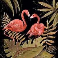 "Marmont Hill MH-JULTCN-31-C-40 40"" x 40"" ""Flamingos Sweetheart II"" Frameless Giclee Painting on Canvas - Pink"