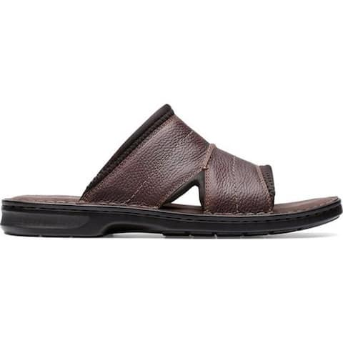 45680b80de9 Clarks Men s Malone Easy Slide Dark Brown Tumbled Leather
