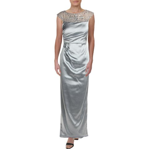 Adrianna Papell Womens Evening Dress Embellished Mesh Inset - Icy Mint