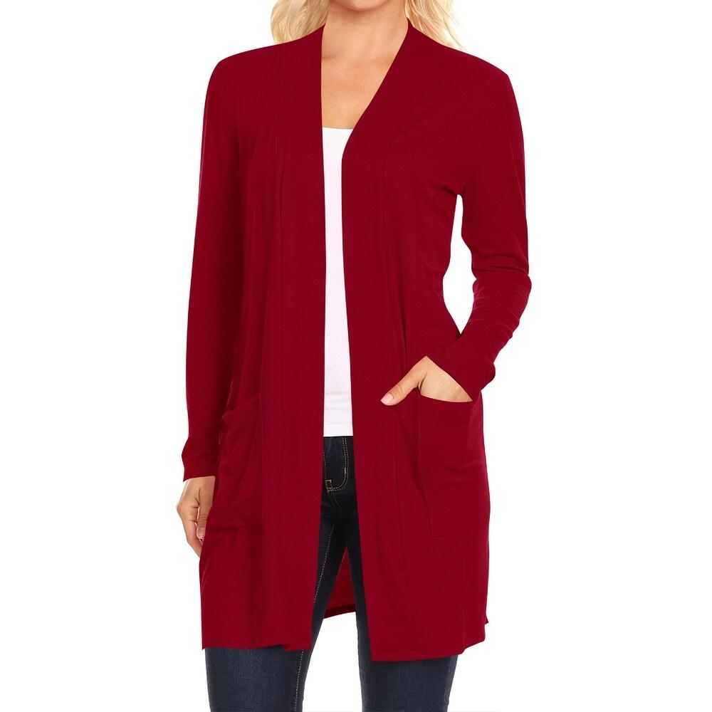 Womens Solid Long Sleeves Cardigan