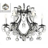 Swarovski Elements Crystal Trimmed Black Wrought Iron Chandelier Lighting With Faceted Crystal Balls