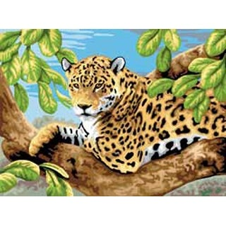 """Leopard In Tree - Junior Large Paint By Number Kit 15.25""""X11.25"""""""