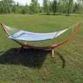 Sunnydaze Wooden Curved Arc Hammock & Hammock Stand, 12 Feet Long, 400 Pound Capacity - Thumbnail 11