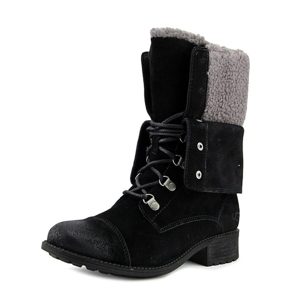 9cc19c8475f Shop UGG Collection Gradin Women Round Toe Suede Black Mid Calf Boot ...