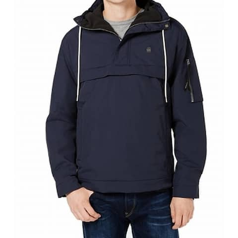 G-Star Raw Mens Jacket Deep Blue Size XL Fleece-Lined Hooded Anorak