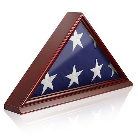 Memorial Veteran American Flag Display Case, Cherry Wood by Reminded