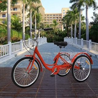 Link to Adult Tricycles 24 inch/26 inch 7 Speed 3 Wheel Bikes Adult Trikes Bicycles with Shopping Basket Red Similar Items in Cycling Equipment