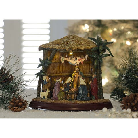 """Set of 2 Brown and Beige Birth of Christ Christmas LED Lighted Nativity Set Decor 8.75"""""""