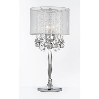 Silver Mist 3 Light Chrome Crystal Table Lamp with Shade Contemporary  Modern Living Room,For Bedroom | Overstock.com Shopping - The Best Deals on  ...
