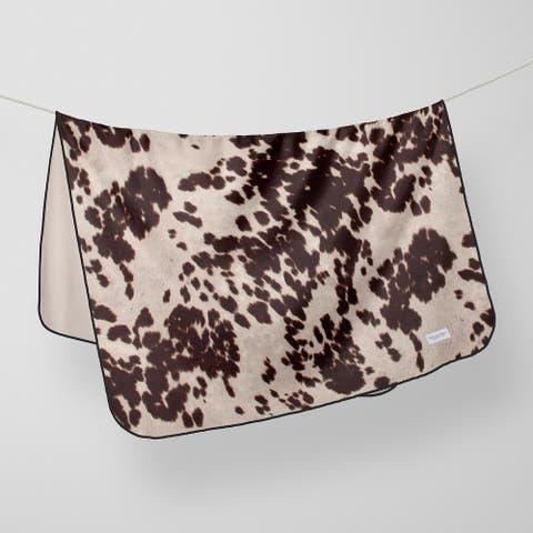 Glenna Jean Crib Quilt Baby Blanket Super Soft and Warm Cow Animal Print Brown & White