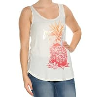 LUCKY BRAND Womens White Printed Sleeveless Scoop Neck Top  Size: S