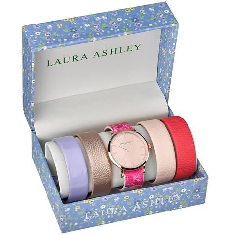Laura Ashley Womens LASS1101 Floral Strap Watch Set Interchangeable Straps
