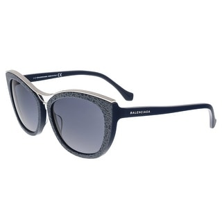 Balenciaga BA0032 90A Black Cat Eye Sunglasses - Blue - 57-16-135
