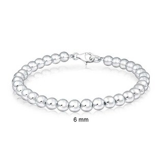 Bling Jewelry 925 Sterling Silver Beaded Ball Wedding Bridal Bracelet 6mm (2 options available)