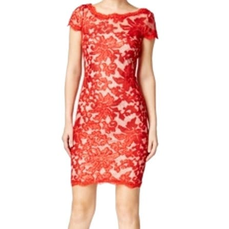 Calvin Klein New Red Womens Size 6 Floral Sequin Lace Sheath Dress