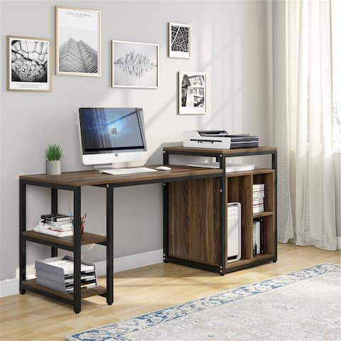 """Large Computer Desk with Storage Shelf, 47"""" Home Office Desk with Printer Stand"""