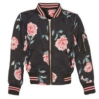 Urban Republic Little Girls Black Pink Rose Print Full Zipper Jacket