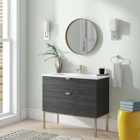 "40"" Modern Bathroom Vanity Smug Oak Wood Gold handle and legs 40 x 33 x 18"" Cabinet + Sink"