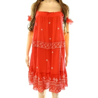Free People NEW Red Women's Large L Smocked Embroidered Shift Dress
