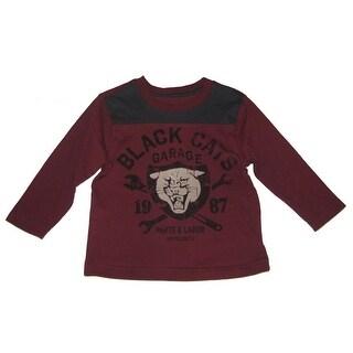 "Sprockets Little Boys Burgundy ""Black Cat Garage"" Print Long Sleeve T-Shirt 4-7"